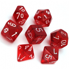 Red & White Translucent Polyhedral 7 Dice Set